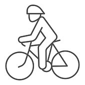 Cyclist thin line icon, Summer sports concept, Cycling symbol on white background, man ride bicycle icon in outline style for mobile concept and web design. Vector graphics