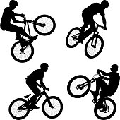 vector illustration of man doing bike trick