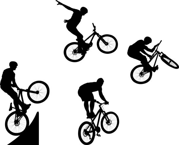 cyclist silhouette of male doing bike trick stunt stock illustrations