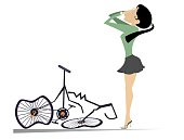 Cyclist woman and a broken bike isolated illustration