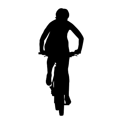 Cyclist woman on mountain bike. Isolated vector silhouette. Front view. Recreational cycling