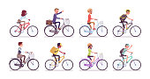 Cyclists and bicycles set. Male, female happy persons riding different cycles for sport, fun, work, business or recreation, use sharing system in public places. Vector flat style cartoon illustration