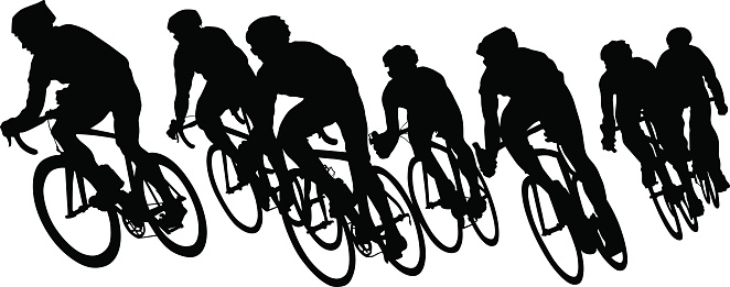 Cyclists groups on white