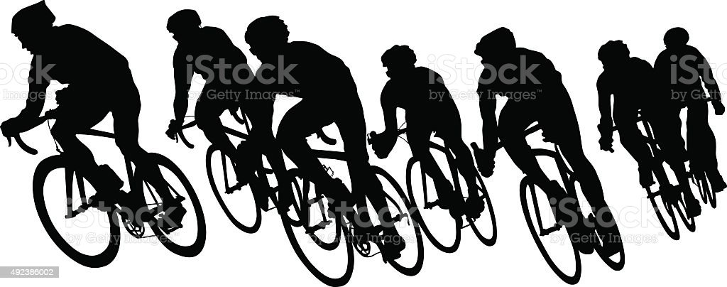 Cyclists groups on white vector art illustration
