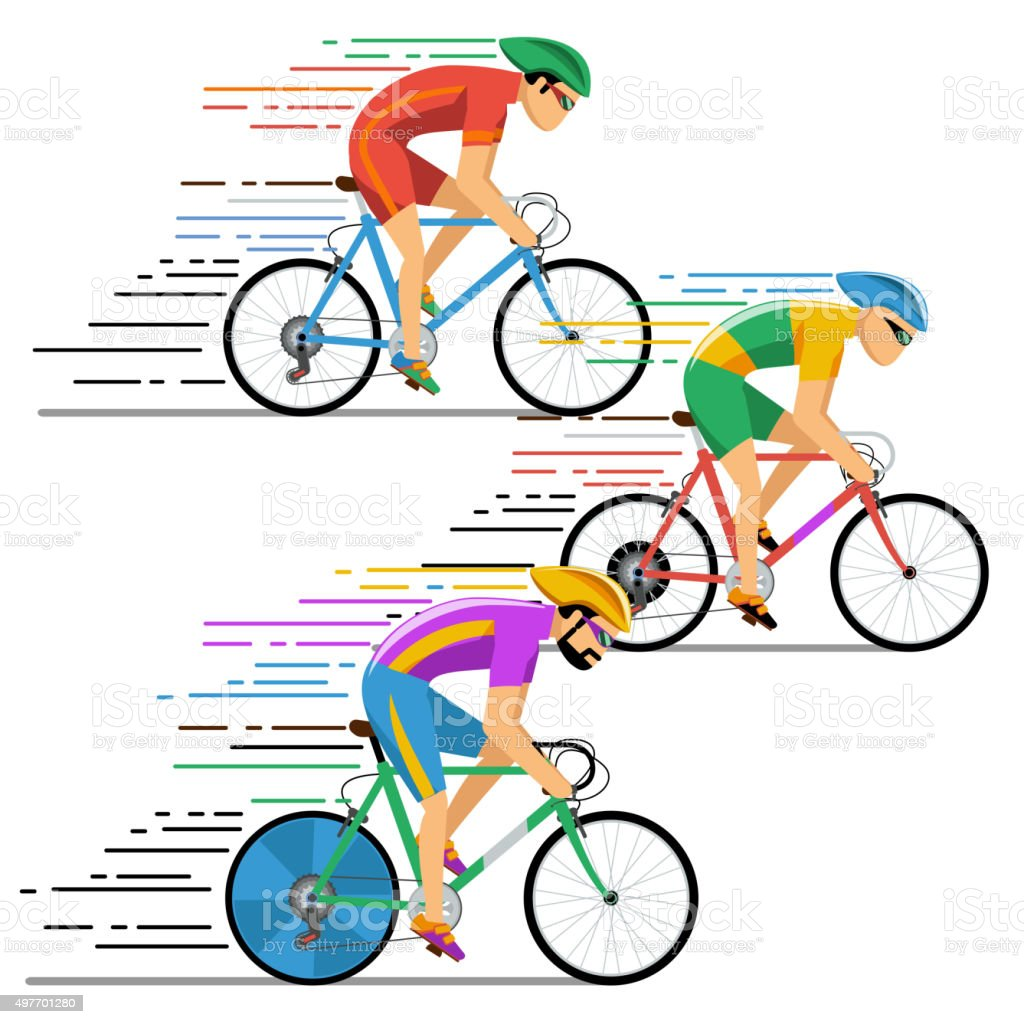 Cyclists in bicycle racing. Vector characters flat design style vector art illustration