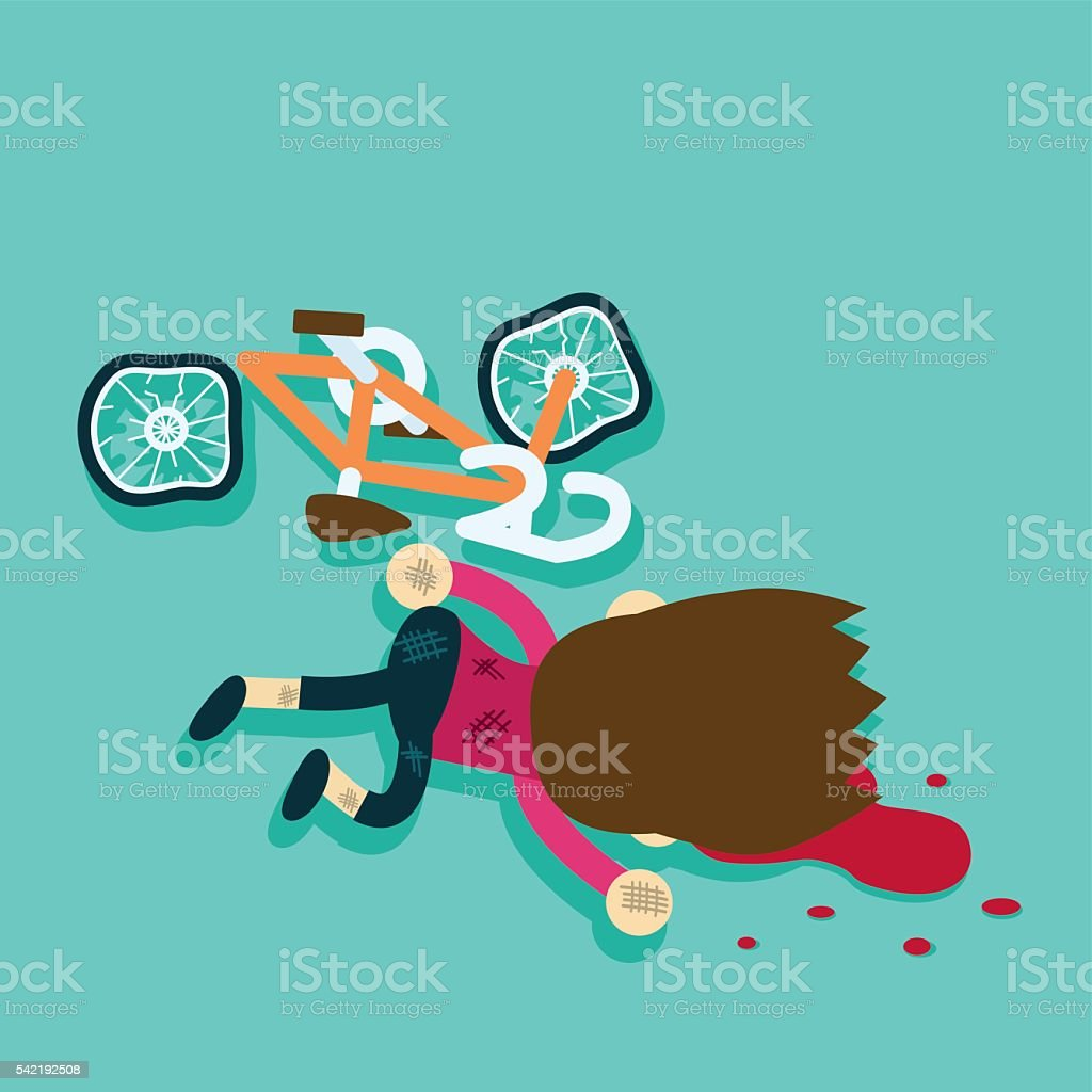 cyclists in blood after bicycle accident vector art illustration