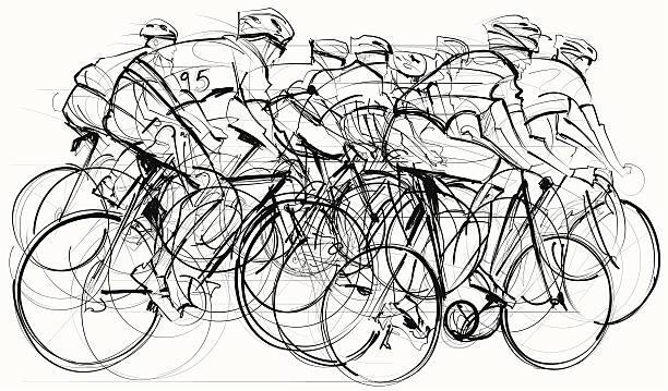 cyclists in competition vector art illustration