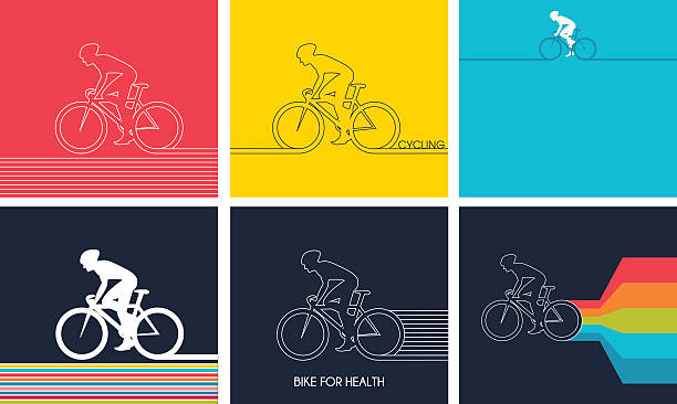 cyclists on bikes. set isolated d vector illustration - bike stock illustrations, clip art, cartoons, & icons