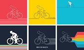 Cyclists on bikes. set isolated d vector illustration