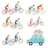 Cyclists on bikes set. People riding bicycle. Urban and racing, kids, road bike. Car with bicycles on top rack. Cyclists man and woman, seniors couple, children. Bicyclist cartoon cheracter vector