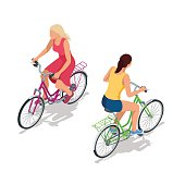 Cyclists on bikes