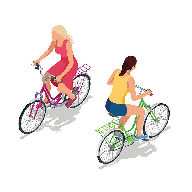 Cyclists on bikes vector art illustration