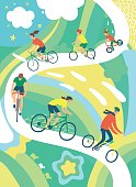 People of different age and style riding a bicycle on decorative background. Healthy lifestyle illustration.Cycling poster. Editable vector format.