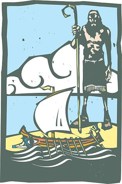 zyklopen und odysseus - reiseliteratur stock-grafiken, -clipart, -cartoons und -symbole