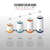 Vector illustration of cylinder color hood infographic design element.
