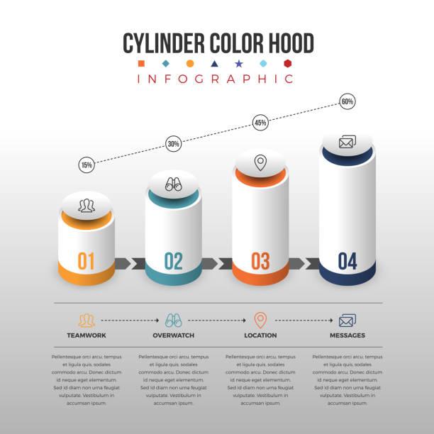 stockillustraties, clipart, cartoons en iconen met cylinder color hood infographic - stroom activiteit