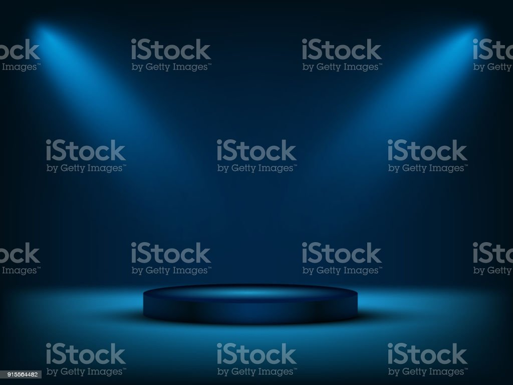 Cylinder podium under blue light. Vector illustration. royalty-free cylinder podium under blue light vector illustration stock illustration - download image now