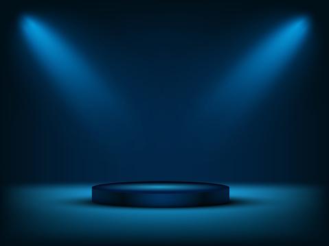 Cylinder podium under blue light. Vector illustration.