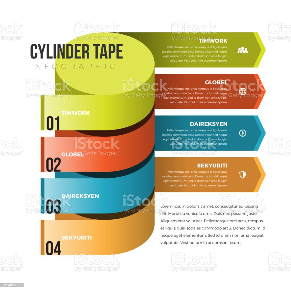 Cylinder Tape Infographic royalty-free stock vector art
