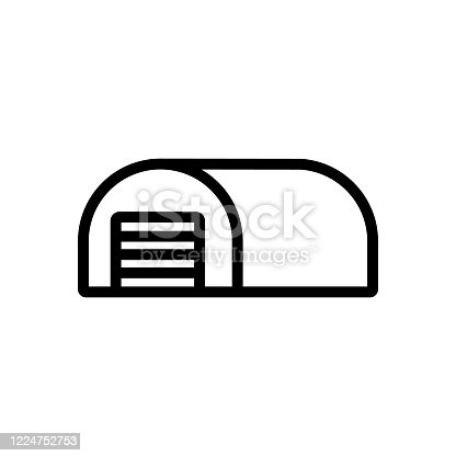 istock cylindrical hangar shed icon vector outline illustration 1224752753