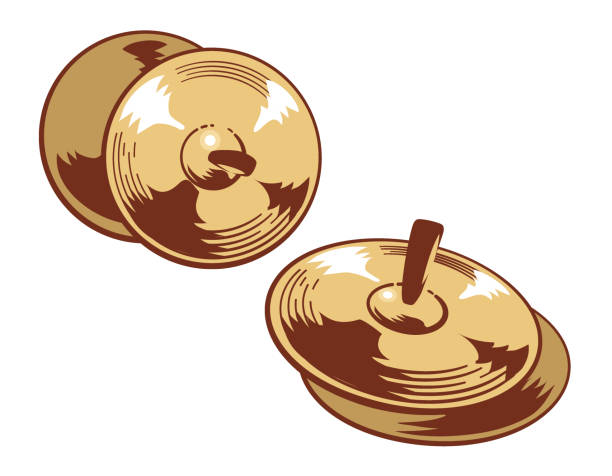 cymbals isolated on white. - talerz perkusyjny stock illustrations
