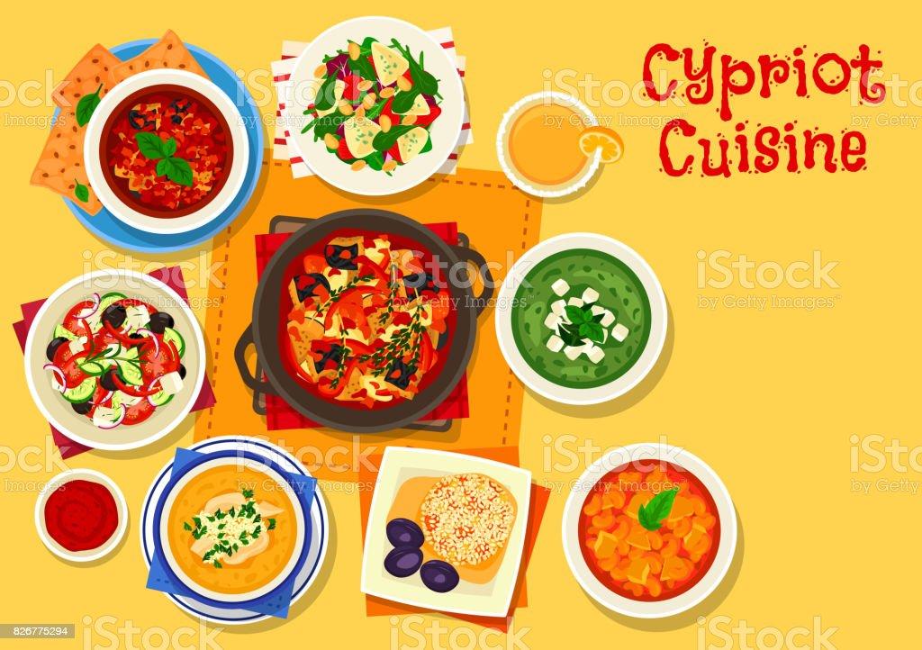 Zyprische Küche Symbol Für Griechisches Essen Menüdesign Stock ...