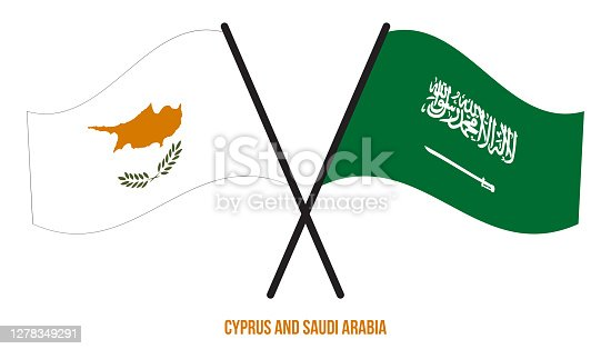 istock Cyprus and Saudi Arabia Flags Crossed And Waving Flat Style. Official Proportion. Correct Colors. 1278349291