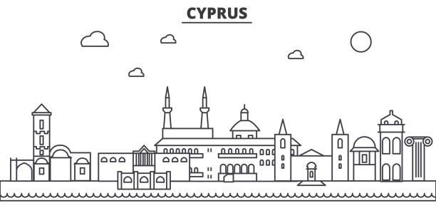 zypern-architektur linie skyline abbildung. linearer vektor stadtbild mit berühmten sehenswürdigkeiten, sehenswürdigkeiten der stadt, design-ikonen. landschaft mit editierbaren striche - paphos stock-grafiken, -clipart, -cartoons und -symbole