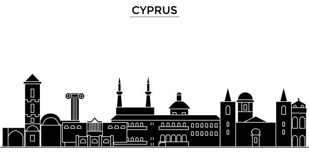 zypern-architektur vektor skyline der stadt, reisen stadtbild mit sehenswürdigkeiten, gebäude, hintergrund isoliert im visier - paphos stock-grafiken, -clipart, -cartoons und -symbole