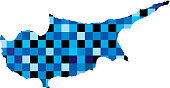Vector illustration of a map of Cyprus made up of little blue squares.