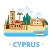 Cyprus country design template. Flat cartoon style historic sight showplace web site vector illustration. World vacation travel sightseeing Europe collection. Church of St Lazarus Bellapais Abbey