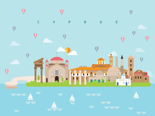 최소한의 스타일과 아이콘을 여행 키프로스 유명한 랜드 마크 인포 그래픽 템플릿, 기호 세트 벡터 일러스트 는 포스터 여행 책, 엽서, 빌보드에 사용할 수 있습니다. 벡터 아트 일러스트