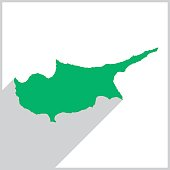 Vector illustration of a green map of cyprus on a white background with a gray border.