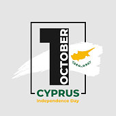 Cyprus independence day - 1st October. Greeting card, poster, banner template. Celebration background white watercolor ink brush Cyprus flag and numeral 1. Vector illustration