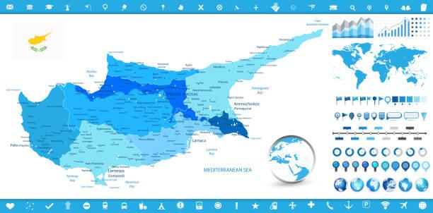 zypern landkarte und infografik elemente - paphos stock-grafiken, -clipart, -cartoons und -symbole