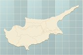 A retro looking map of Cyprus on a grid. Hires JPEG (7500 x 5000 pixels) and EPS10 file included.