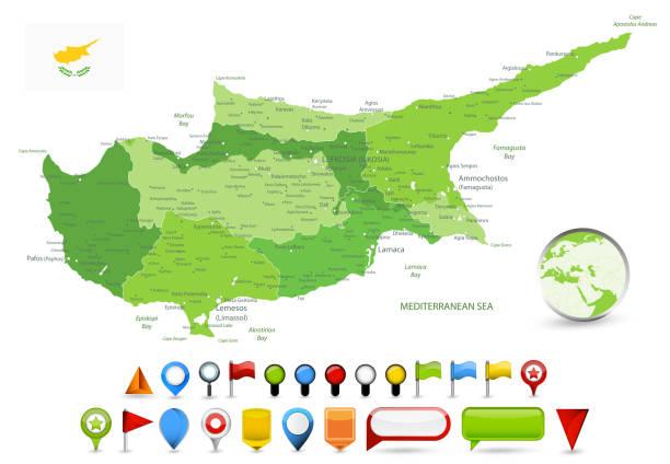 zypern karte grün volltonfarben und glänzende kartensymbole - paphos stock-grafiken, -clipart, -cartoons und -symbole
