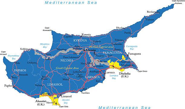 zypern-karte - paphos stock-grafiken, -clipart, -cartoons und -symbole