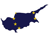 vector illustration of Cyprus map with EU flag on white background