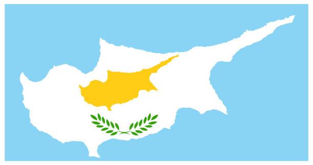 zypern-karte mit flagge - paphos stock-grafiken, -clipart, -cartoons und -symbole