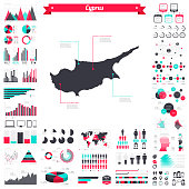 Map of Cyprus with a big set of infographic elements. This large selection of modern elements includes charts, pie charts, diagrams, demographic graph, people graph, datas, time lines, flowcharts, icons... (Colors used: red, green, turquoise blue, black). Vector Illustration (EPS10, well layered and grouped). Easy to edit, manipulate, resize or colorize. Please do not hesitate to contact me if you have any questions, or need to customise the illustration. http://www.istockphoto.com/portfolio/bgblue