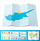 Map of Cyprus folded with design elements, isolated on white background.