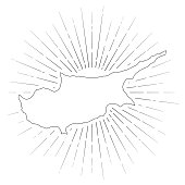 Map of Cyprus created with a thin black outline and  light rays. Trendy and modern illustraion isolated on a blank background. Vector Illustration (EPS10, well layered and grouped). Easy to edit, manipulate, resize or colorize.