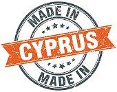 Cyprus orange grunge ribbon stamp on white