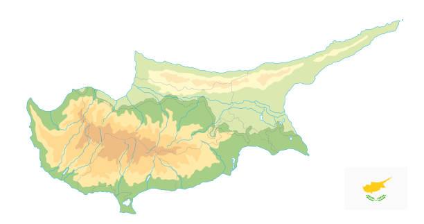 zypern physische karte isoliert auf weiss. kein text - paphos stock-grafiken, -clipart, -cartoons und -symbole
