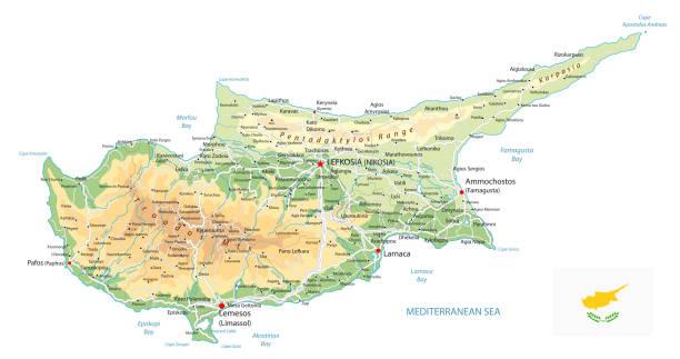 physische karte zypern, isoliert auf weiss - paphos stock-grafiken, -clipart, -cartoons und -symbole