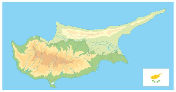 physische karte von zypern. kein text - paphos stock-grafiken, -clipart, -cartoons und -symbole