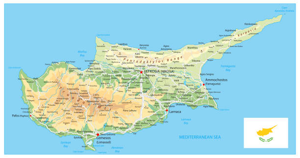 physische karte von zypern - paphos stock-grafiken, -clipart, -cartoons und -symbole