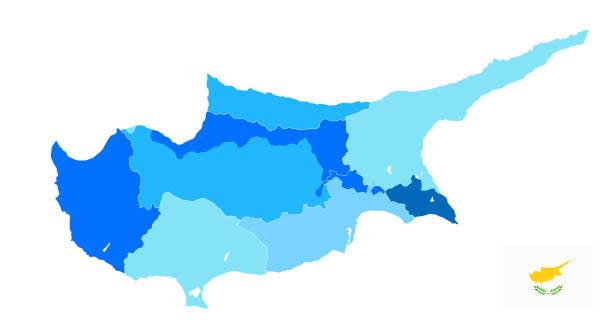 zypern politische karte in den farben blau. kein text - paphos stock-grafiken, -clipart, -cartoons und -symbole