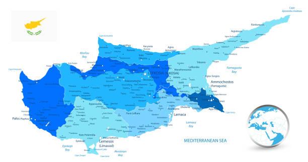 zypern politische karte in den farben blau - paphos stock-grafiken, -clipart, -cartoons und -symbole